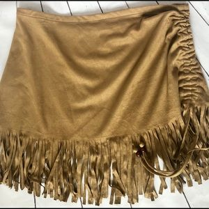 Newport News tan swim cover skirt w/fringe